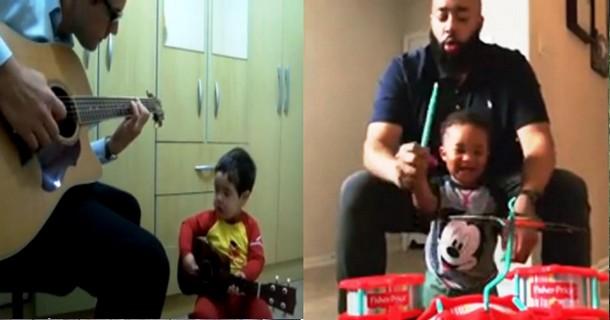 Какие музыкальные инструменты выбрали для годовалых детей их отцы