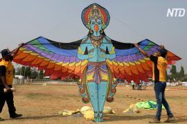 Фестиваль воздушных змеев в Индии привлёк участников из 40 стран