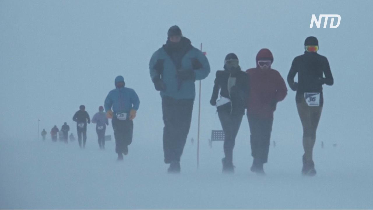 World Marathon Challenge: спортсмены пробежали среди снегов Антарктиды