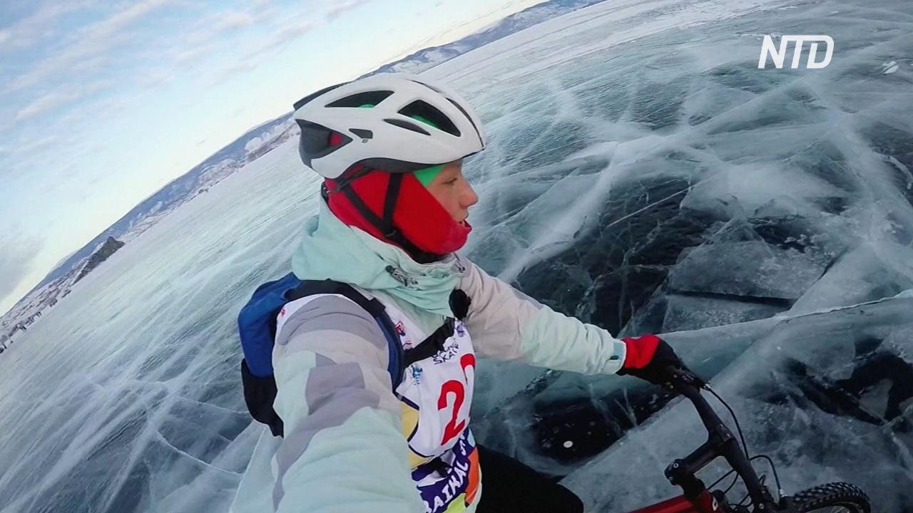 Спортсмены покорили замёрзший Байкал на коньках, велосипедах и финских санях