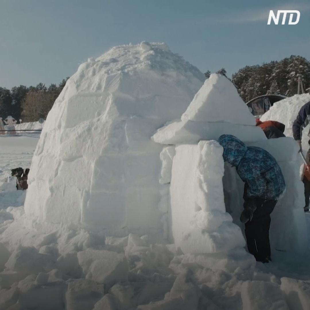 Город эскимосов из 100 иглу вырос на водохранилище в Новосибирске