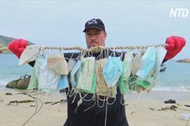 Выброшенные хирургические маски вымывает на живописные острова Гонконга
