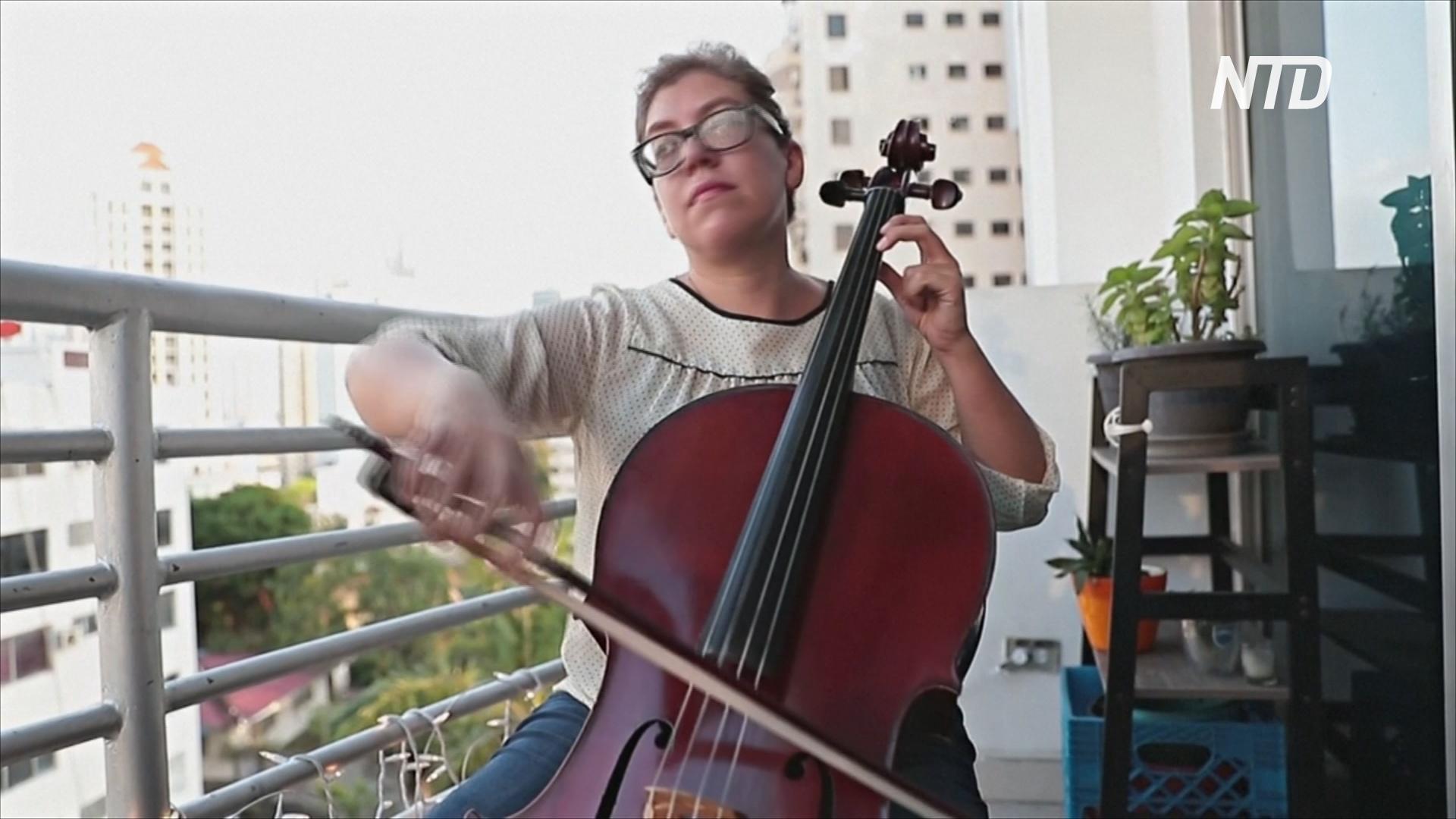 В Панаме виолончелистка играет на балконе для людей, встревоженных коронавирусом