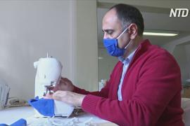 Беженцы в Германии шьют защитные маски для пожилых
