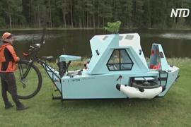 Лодка, дом и велосипед: латыш построил необычный транспорт