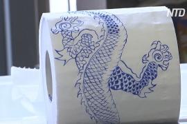 Художница трансформирует туалетную бумагу в карантинные произведения искусства