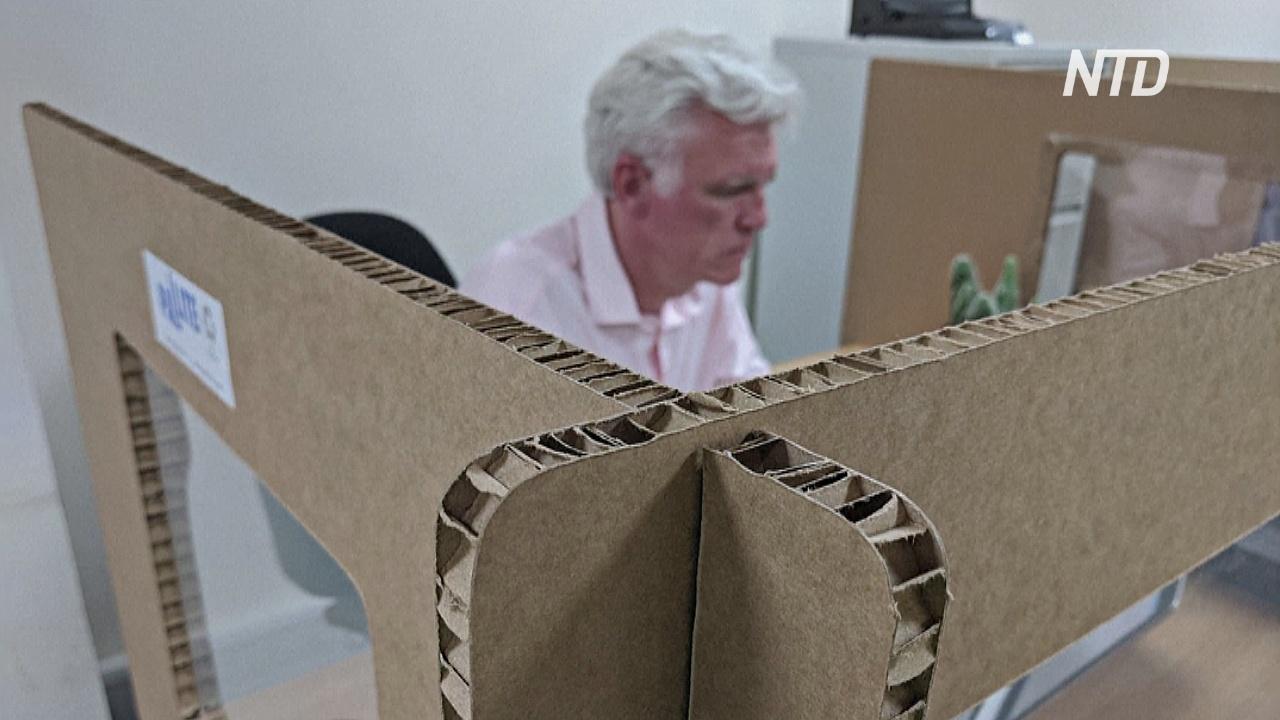 Британская компания делает офисные перегородки из картона
