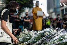 В Гонконге собрались почтить память протестующего, который упал с крыши