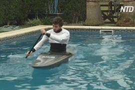 Аргентинский каноист готовится к Олимпиаде, плавая в бассейне у дома