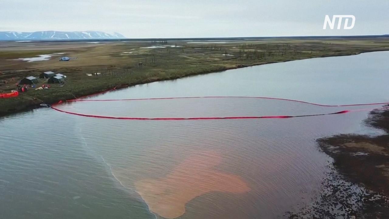 Топливное пятно под Норильском попало в большое озеро
