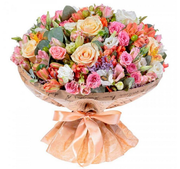 Букет с альстромерией, статицей и кустовыми розами