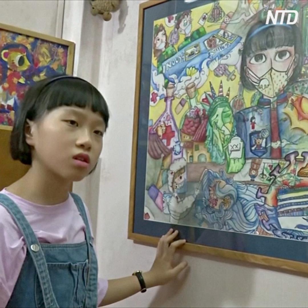 10-летняя девочка три месяца карантина рисовала картины о COVID-19