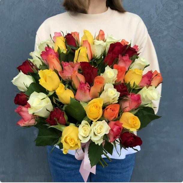 51 роза микс 40 см (Кения)