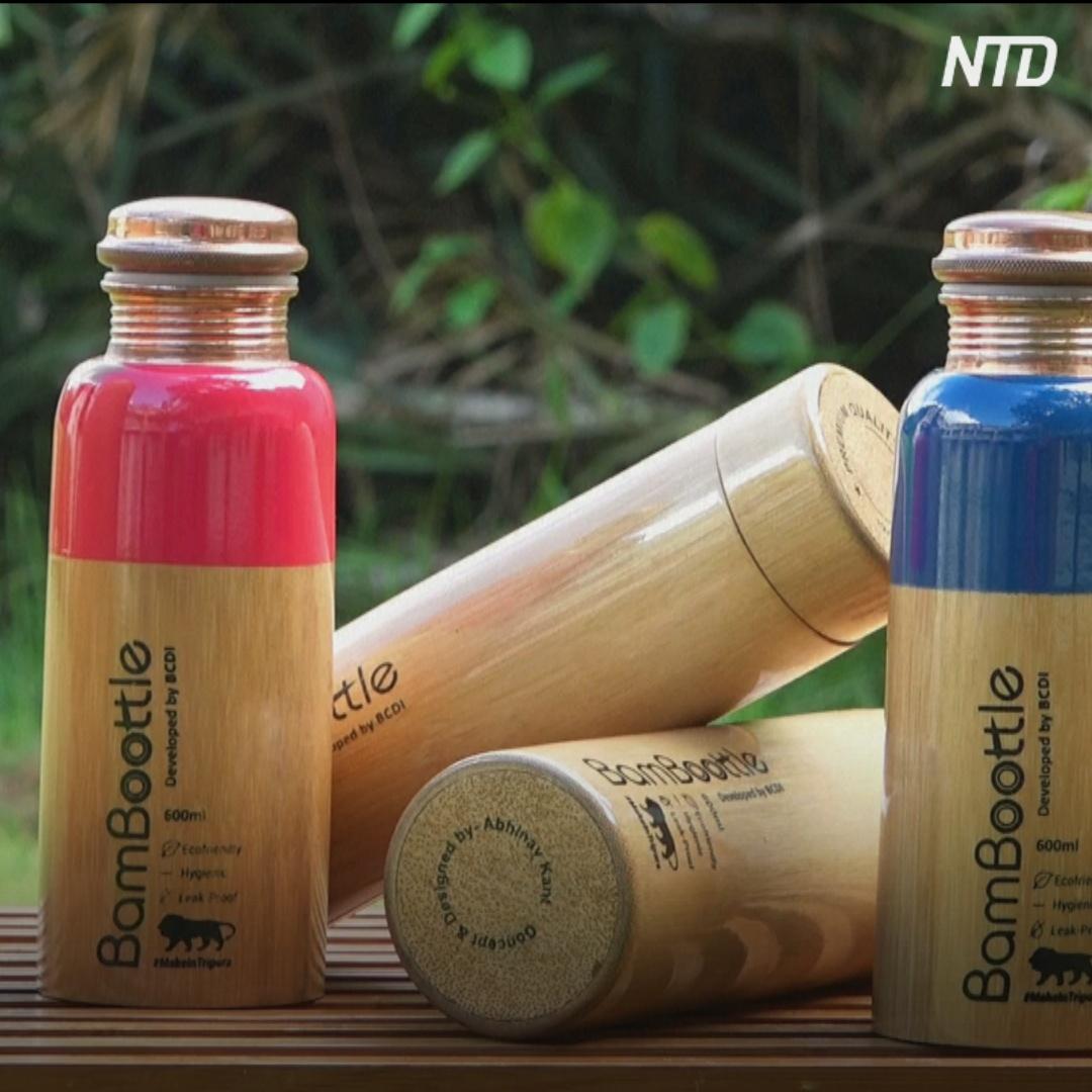 Бутылки в бамбуковом чехле – новый тренд в Индии