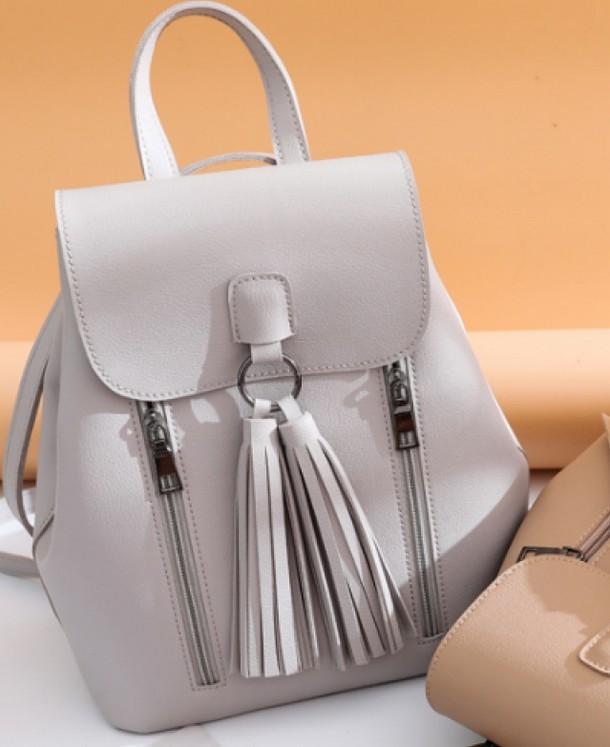 Рюкзак -сумка. кожзам серый