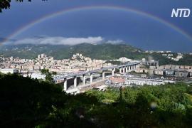 На месте упавшего виадука в Генуе открыли новый мост