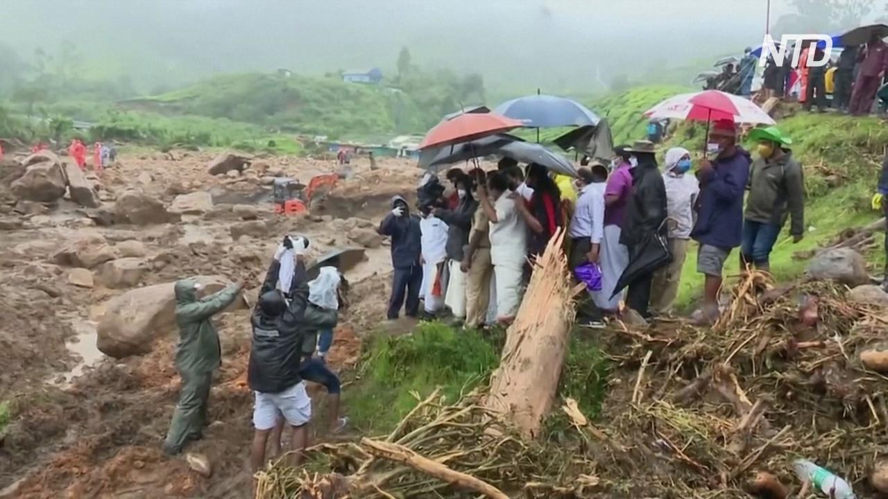 Оползень сошёл на чайную плантацию в Индии, десятки жертв