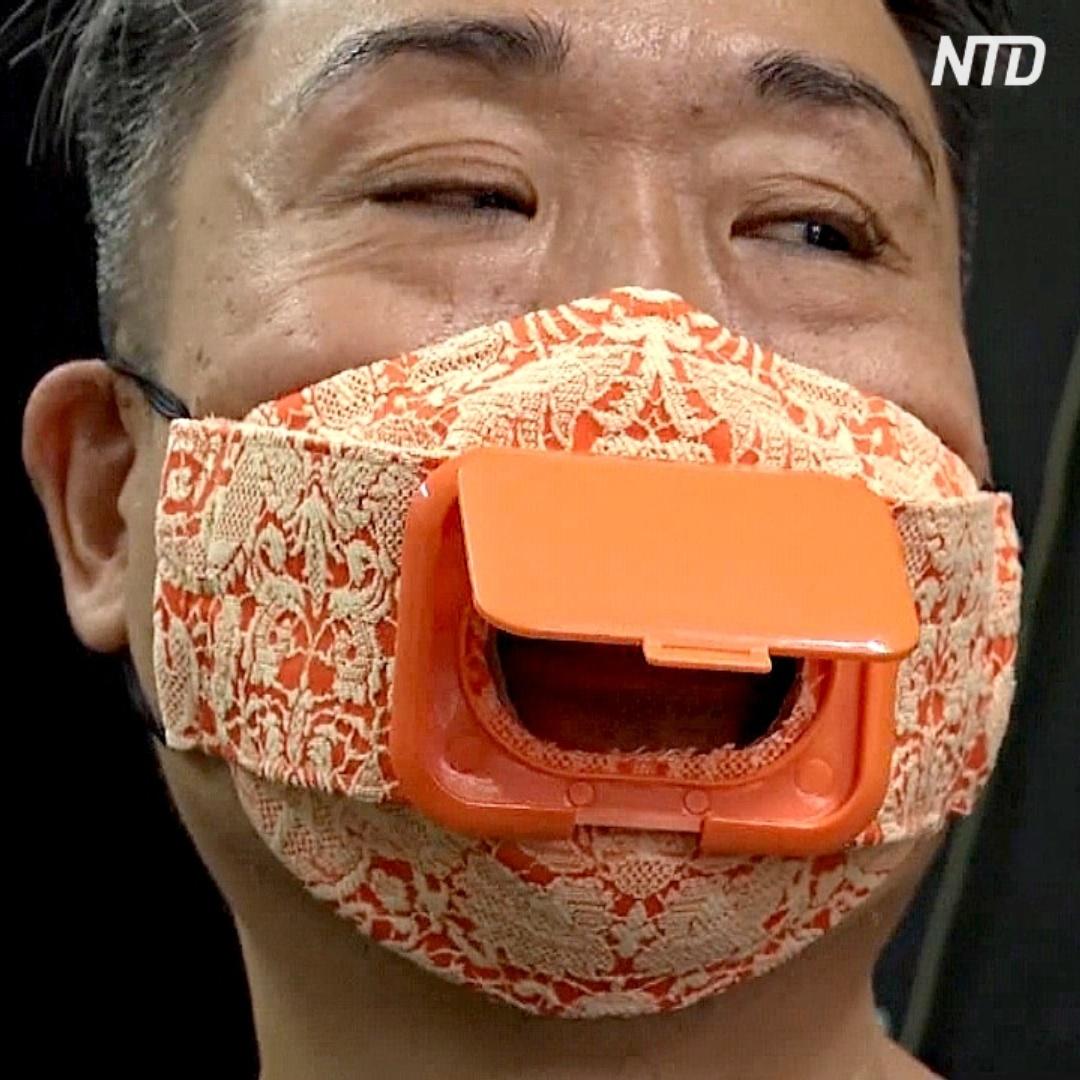 Одноразовая посуда, обрезки и камеры слежения: житель Гонконга делает маски из необычных материалов