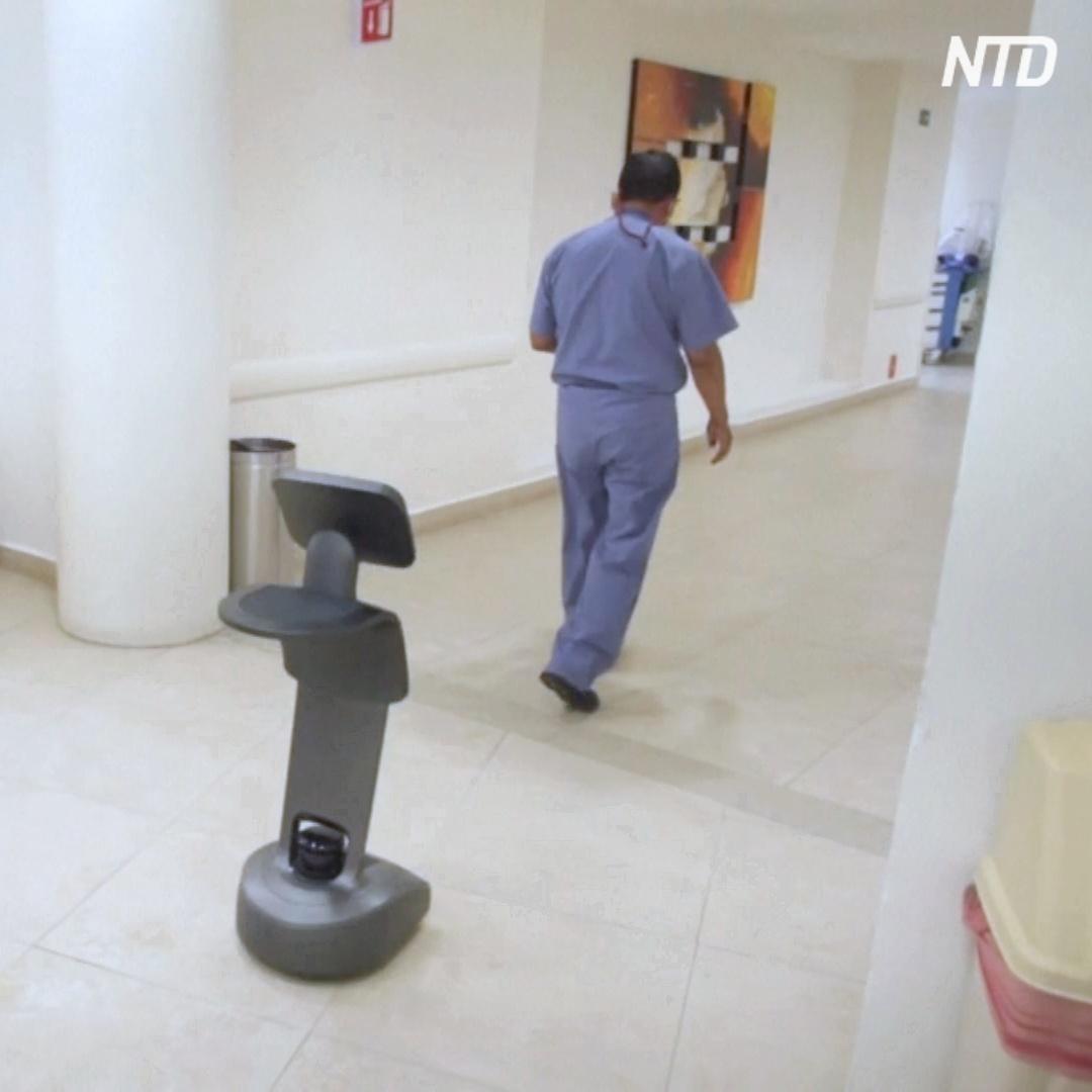 Робот помогает врачам делать обход пациентов с COVID-19