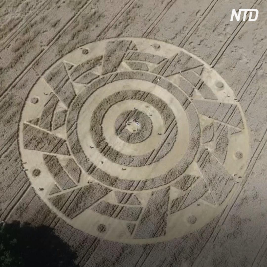 Новый загадочный круг с узорами появился на пшеничном поле в Германии