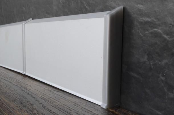 Плинтус алюминиевый на клипсах Анодированное серебро матовый (100х11х3000 мм)
