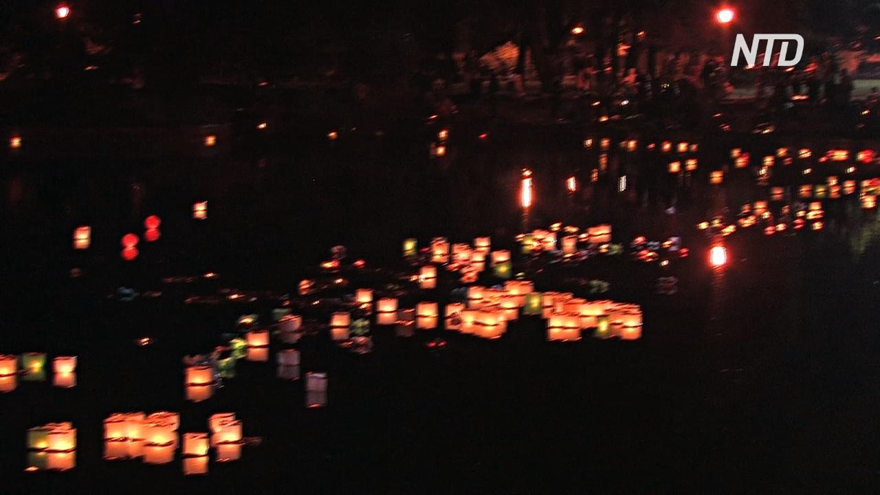 В петербургском саду зажгли водные фонарики