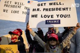 Коронавирус у Дональда Трампа: американцы выходят с флагами и словами поддержки