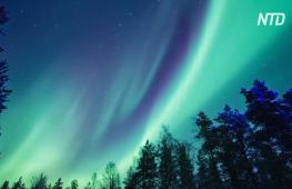 Красивое северное сияние сняли на видео в финской Лапландии