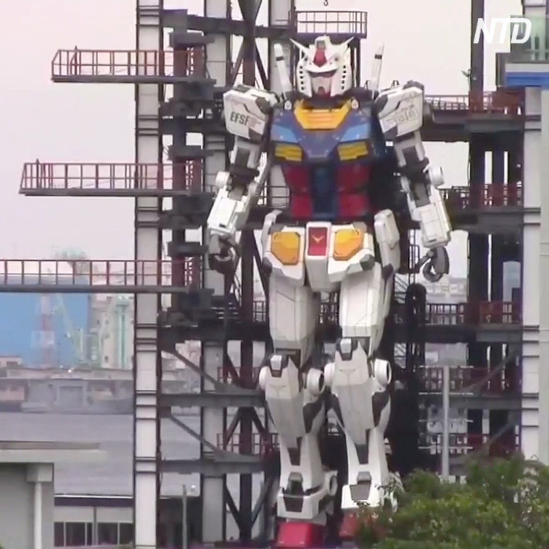 18-метрового робота Gundam из аниме протестировали в Иокогаме