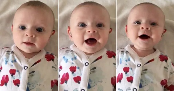 Как реагирует на голос малышка, которой впервые включили слуховой аппарат
