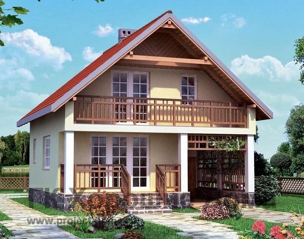 Проект двухэтажного дома из газобетона с 3 спальнями, с гаражом, с навесом для машины, с котельной, с балконом и общей площадью 82.7 кв.м. — AS-436