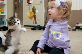 Двухлетняя малышка с одной рукой подружилась с необычным питомцем
