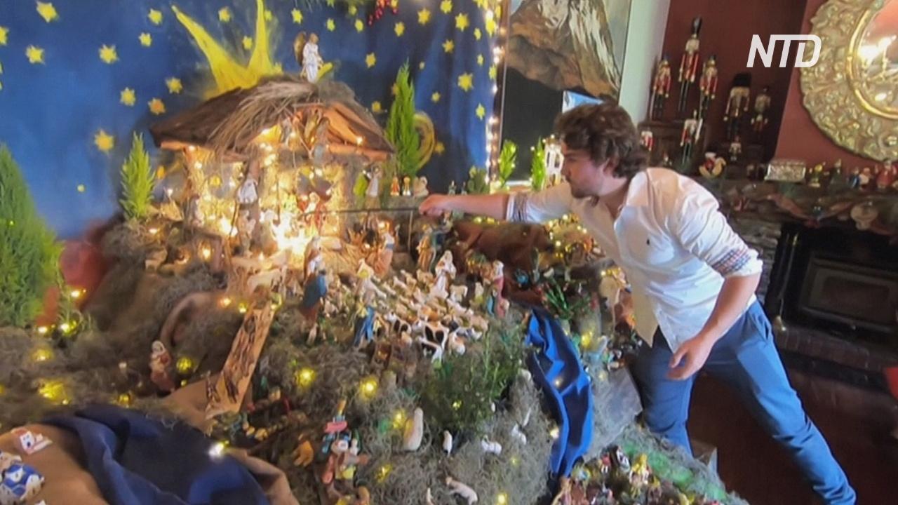 Боливийская семья ежегодно делает рождественский вертеп из сотен статуэток