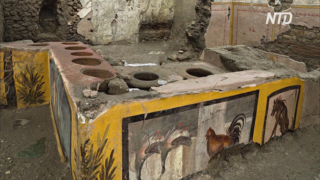 Утки, петух и собака: в Помпеях нашли древний уличный ресторан с фресками