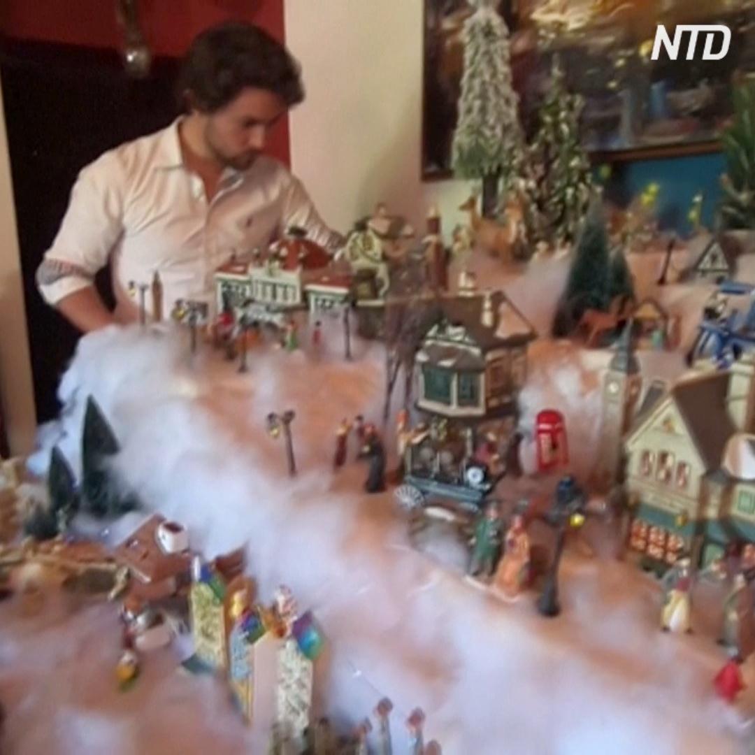 Боливийская семья украшает дом к Рождеству сотнями фигурок