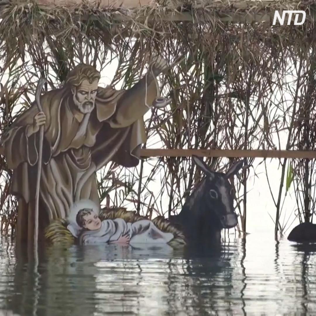 Венецианскую лагуну украсил рождественский вертеп на воде