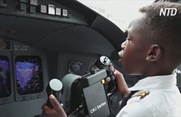7-летний угандиец уже трижды летал на самолёте вторым пилотом