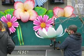В Новом Орлеане из-за отмены парада люди украсили дома как карнавальные платформы