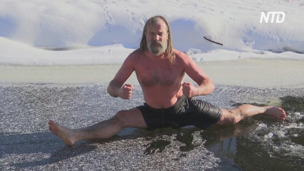 Нидерландцы пользуются морозами и купаются в ледяной воде