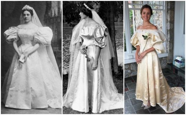 Невеста стала одиннадцатой в семье, надевшей платье 120-летней давности