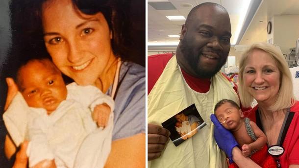 Благодаря новорождённому медсестра встретилась с бывшим пациентом через 30 лет