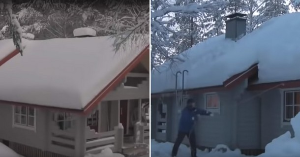 Как убрать снег с крыши с помощью верёвки