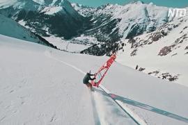 Виндсёрфинг, сноубординг и сноукайтинг: спортсмены показали, как можно спускаться с горы