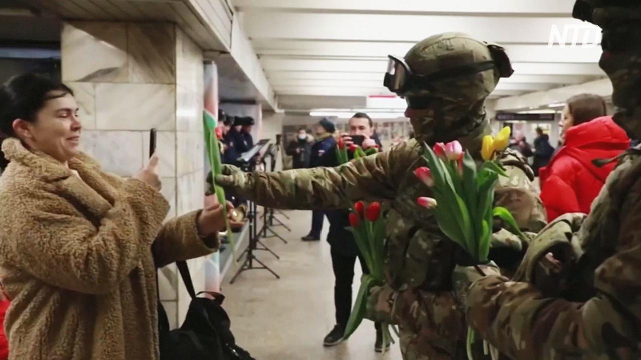 Прыжки с парашютом, цветы и шарики: как российская армия поздравила женщин с 8 марта