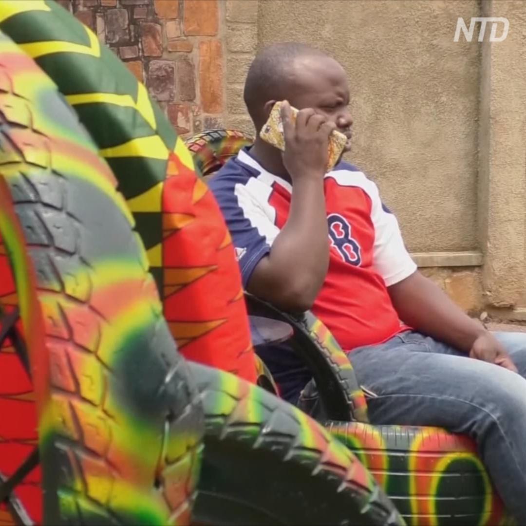 В Руанде из старых покрышек делают уютные кресла и столы