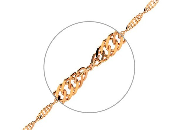 Цепочка,плетение Сингапур, из золота