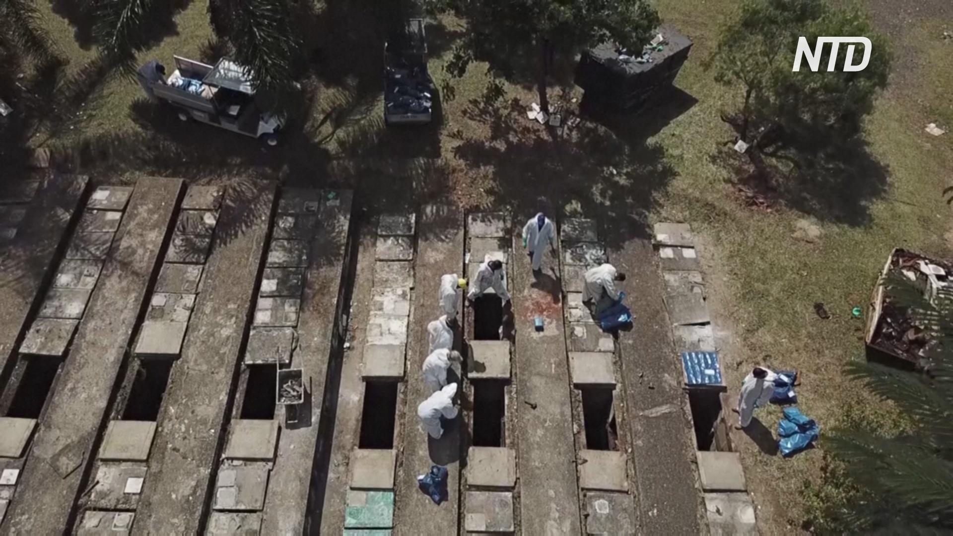 В Сан-Паулу извлекают останки из старых могил, чтобы освободить место для умерших от COVID-19