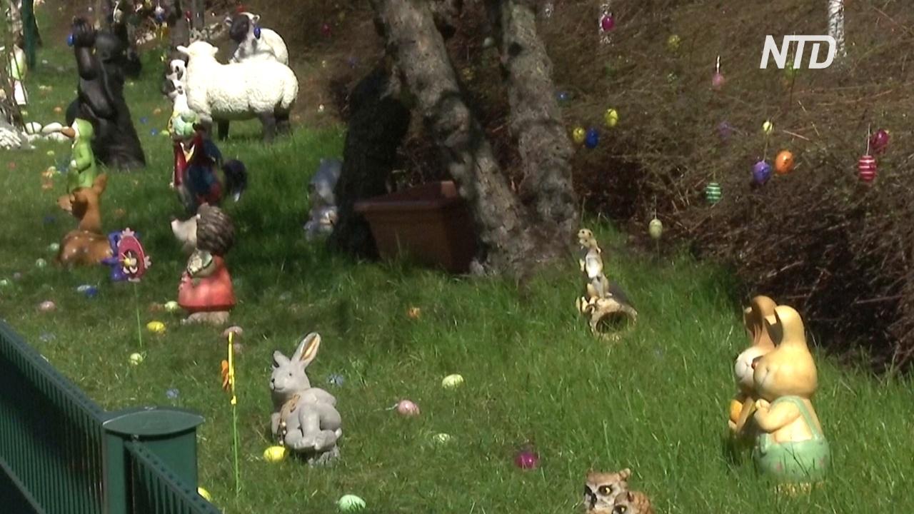 Пасхальная сказка у дома: берлинец украсил газон яйцами и забавными фигурками