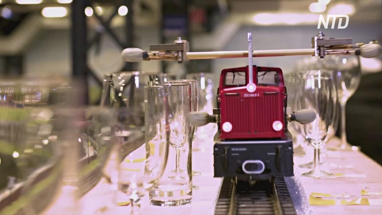 Новый рекорд Гиннесса: игрушечный поезд сыграл самую длинную мелодию на бокалах