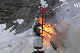 Швейцарского снеговика впервые подожгли за пределами Цюриха